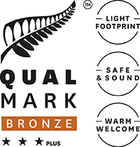 Stacked Qualmark 3 Star Plus Bronze Sustainable Tourism Business Award Logo